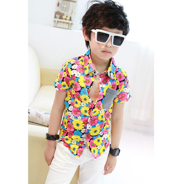 4c43a3bae37f46 Fashion Baby Boys Blouse Shirts for Summer Toddler Boy Floral Print Short  Sleeve Shirt Kids Cotton Top Wear Clothes