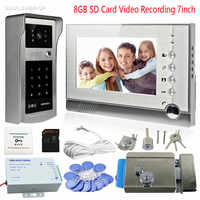 "Rfid Interphone Home Security Intercom 8GB SD Memory Card Video Recording 7"" Color Door Phone Door Camera With Electronic lock"