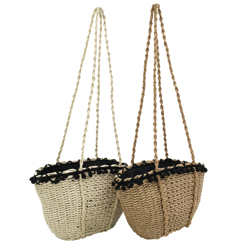 REREKAXI New Bohemian Beach Bag for Women Cute Handmade Straw Bags Summer Grass Handbags Drawstring Basket Bag Travel Tote 2