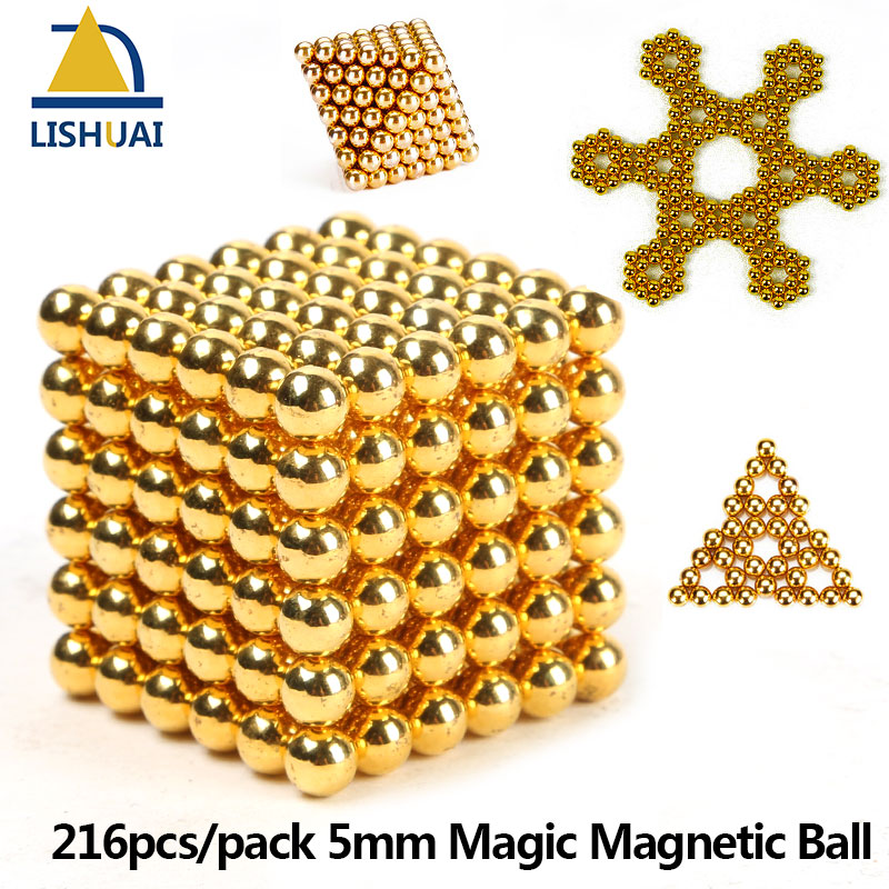 216pcs/pack 5mm Magic Magnetic Ball/ Strong NdFeB DIY Buck Balls/ Neo Cubes Puzzle Magnets Golden Color 5mm magnetic ball puzzle novelty toy for diy 216pcs