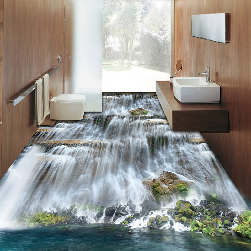 Custom Mural Wallpaper 3D Waterfalls Landscape Floor Tiles Sticker Living Room Bathroom Waterproof Self Adhesive Floor Wallpaper