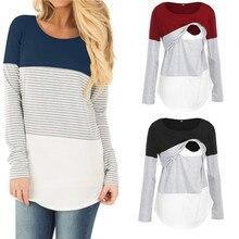2019 Casual Women Maternity Clothes Breastfeeding T Shirt Long Sleeve Stripe Nursing Tee Top Pregnancy Shirts Clothing