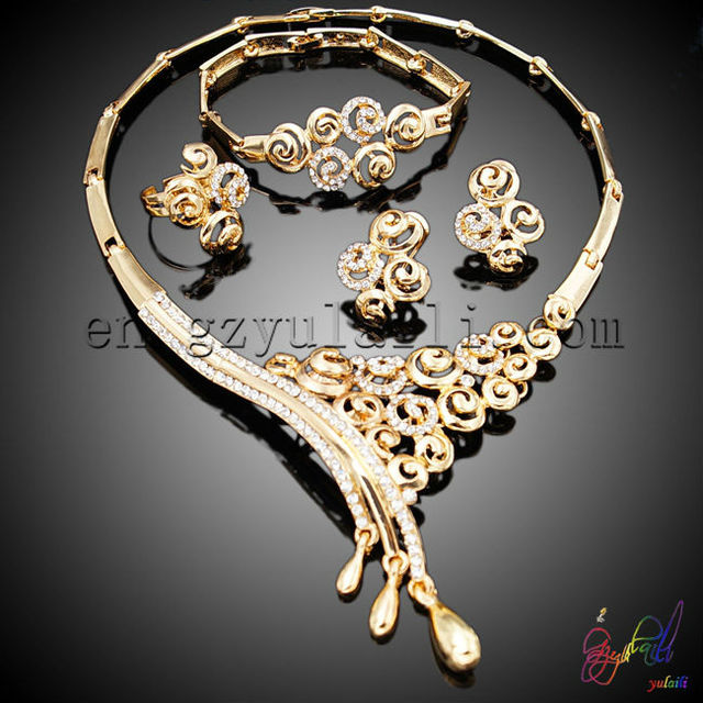 latest design jewelry set high quality fashion jewelry set 22k gold