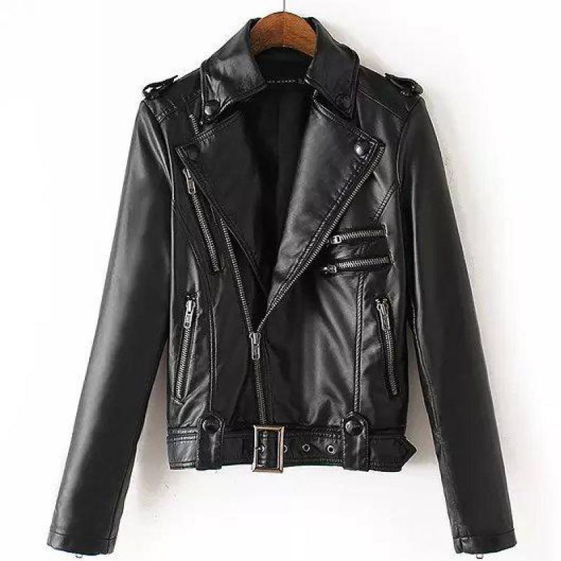 Mode Style 8 fermetures à glissière automne nouvelle veste de motard en cuir pour femmes manteaux en cuir pour femmes veste de moto folle