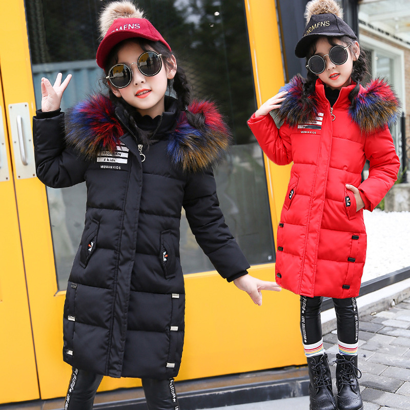 2018 New Black Children Winter Jacket Girl Winter Coat Kids Warm Colorful Fur Hooded Long Coats For Teenage 4 6 8 10 12 14 christmas cotton padded parkas teen winter coat girl long red pink black hooded warm winter jacket for girl 6 years 8 10 12 14