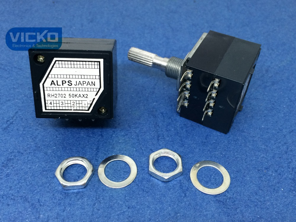[VICKO]5pcs/lot! Japan Alps 27-type RH2702 50KAX2 50K 50KA A50K 8PIN with Loudness Potentiometer (switch) ctr associated with switch potentiometer single handle length 15fmm a50k