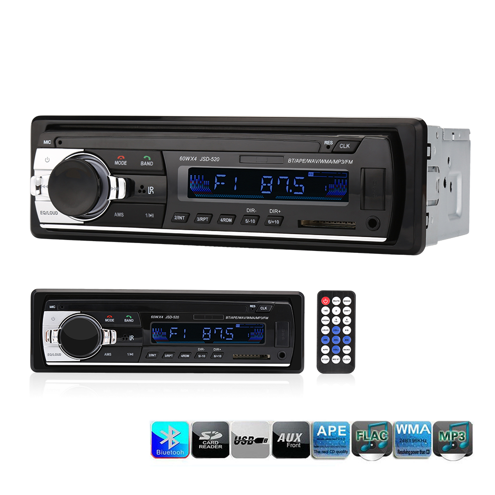 2.5 Inch 1 Din Car Radio Stereo Player 12V Autoradio Bluetooth AUX-IN MP3 FM USB With Remote Control JSD520 Car Audio Player image