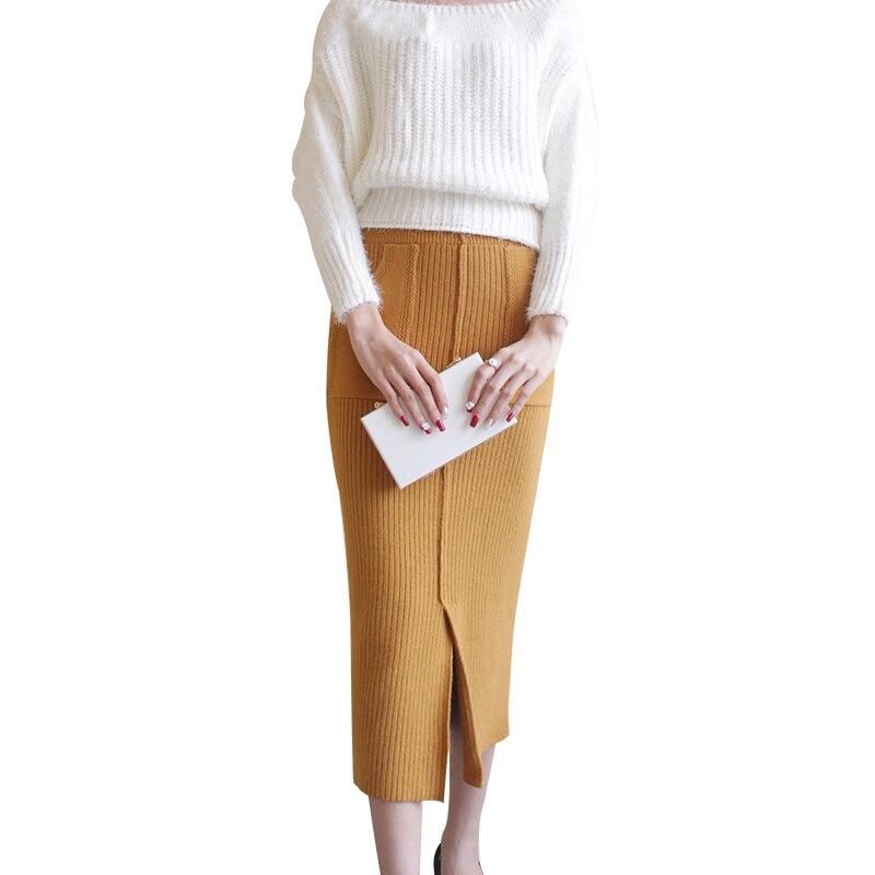 Larga Cintura Las Recto Bolsillos Oscuro Elástico gris La Mediados amarillo Nueva Otoño Envío marrón Mujeres Moda De Faldas Beige becerro 2019 negro Damas Gratis De Falda Invierno Cálido P6wwxInqRz