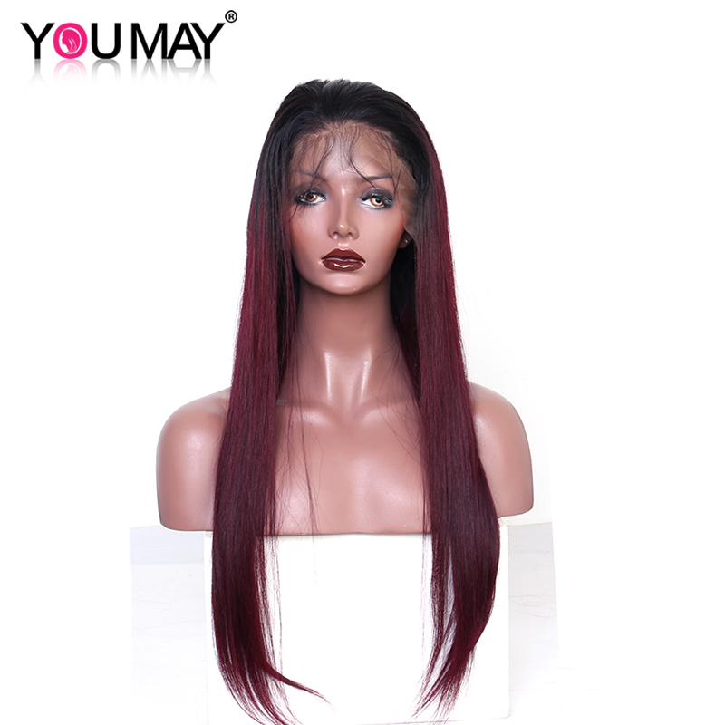Ombre Human Hair Wig For Women 1B 99J Red Colored Straight 360 Lace Frontal Wig Pre