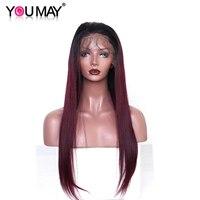 Ombre натуральные волосы парик для женщин 1B 99J красного цвета прямые 360 синтетический Frontal шнурка волос предварительно сорвал волосы младенца
