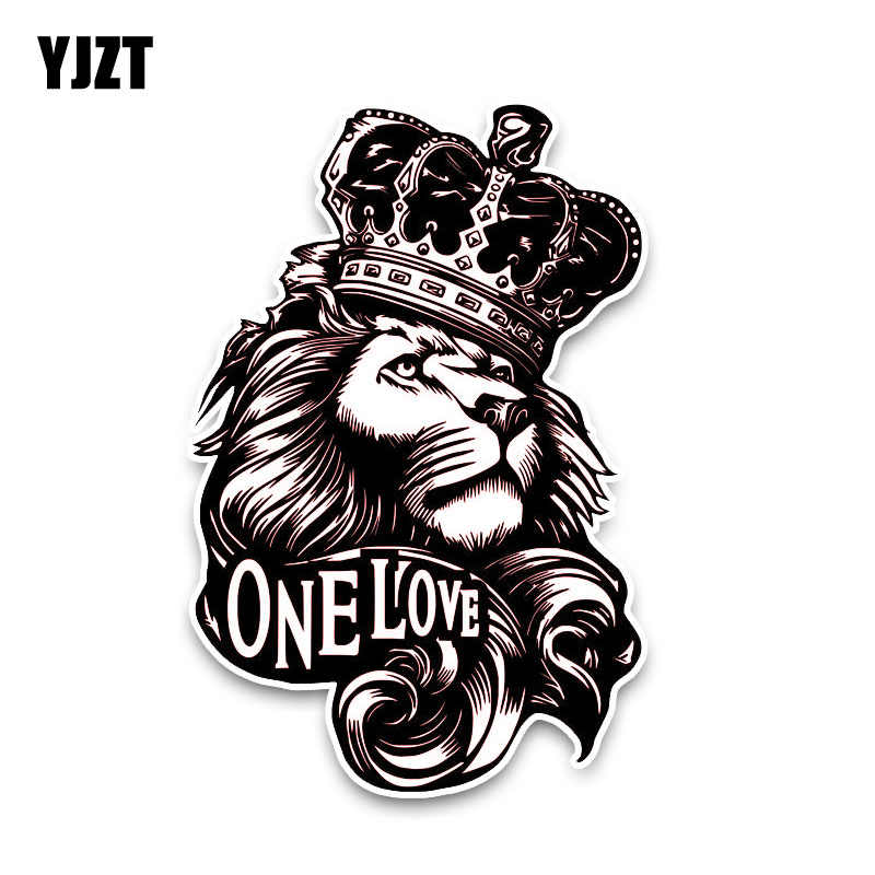 YJZT 10*15,3 CM One Love Lion Crown PVC pegatina de coche de animales de alta calidad C1-3084