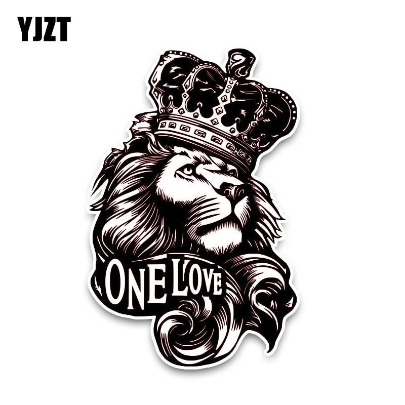 YJZT 10*15,3 см One Love Лев Корона ПВХ Высокое качество животное стикер автомобиля C1 3084-in Наклейки на автомобиль from Автомобили и мотоциклы