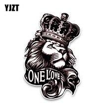 YJZT 10*15.3CM One Love Lion Crown PVC High Quality Animal Car Sticker C1-3084