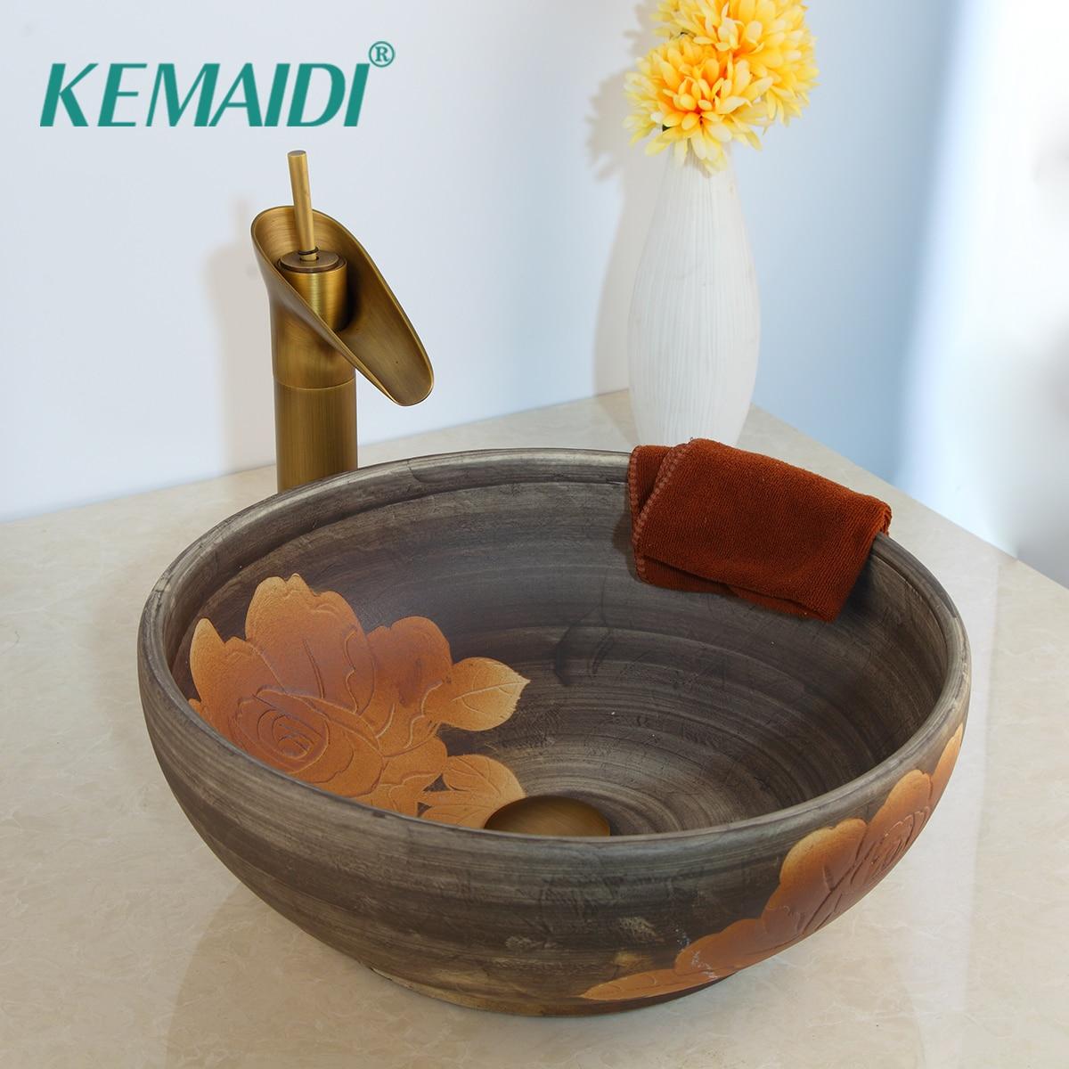 KEMAIDI Solid Brass Tap Luxury Ceramic Lavatory Bathroom Tap Washbasin Basin Sink Set Bath Combine Mixer FaucetKEMAIDI Solid Brass Tap Luxury Ceramic Lavatory Bathroom Tap Washbasin Basin Sink Set Bath Combine Mixer Faucet