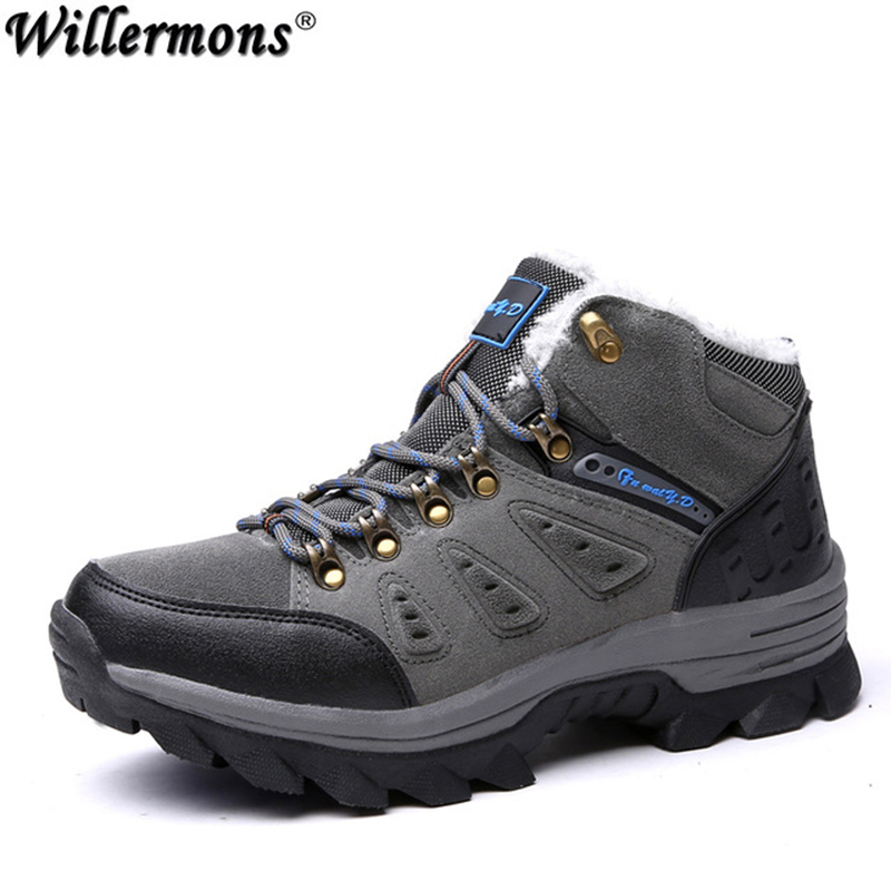 Winter Fur Warm Snow Boots Men Shoes Male Adult Couples Casual Ankle Rubber Non Slip Lovers Boot Big Size 45 46 47 big size 46 men s winter sneakers plush ankle boots outdoor high top cotton boots hiking shoes men non slip work mountain shoes