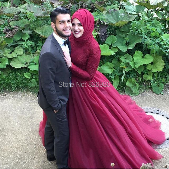 Red Wine Long Sleeve Hijab Islamic Muslim Wedding Dress 2016 Lace Top Ball Gown Tulle Skirt Arabic Turkish Wedding Gown Caftan