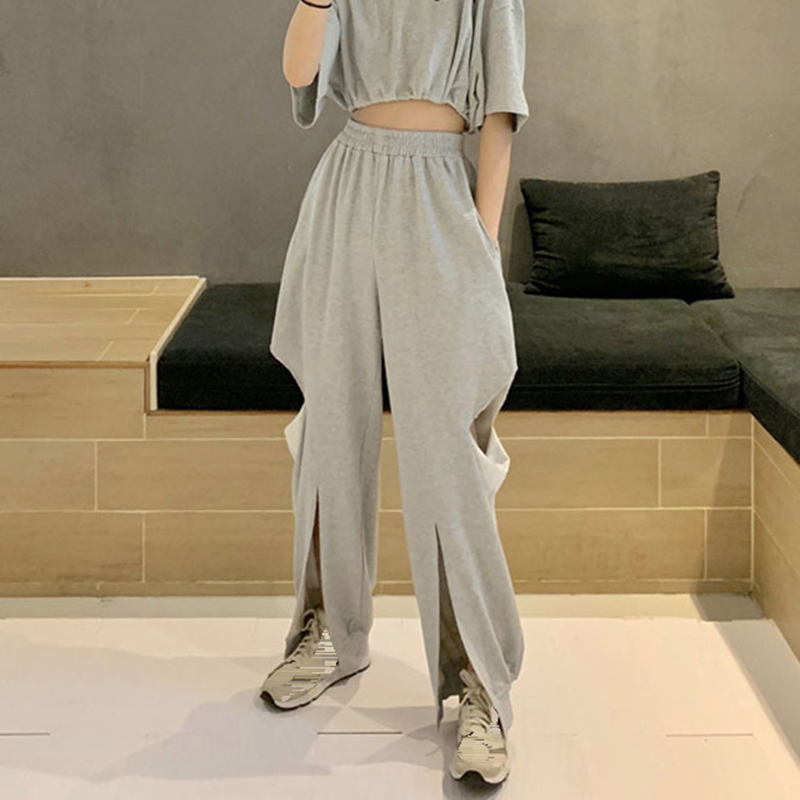Autumn Gray Hole Women   Pants   Loose Casual Pocket Buckle   Wide     Leg     Pant   Cotton Cargo   Pant   Female Fashion Edgy   Pants