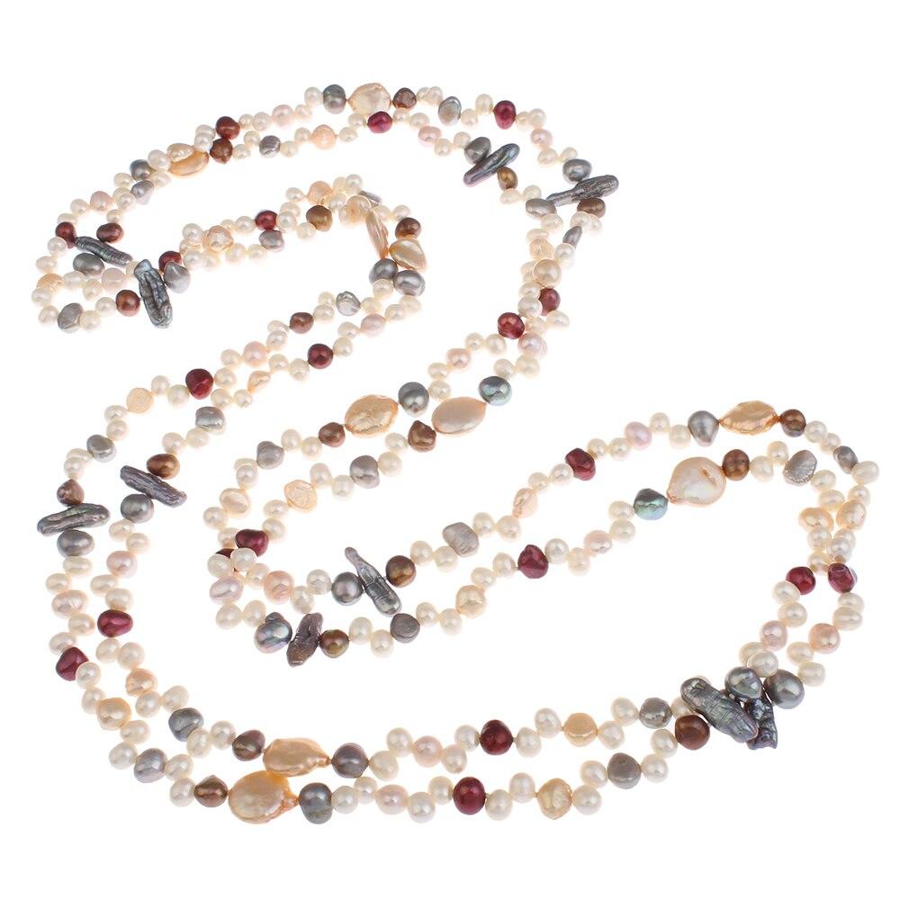 Nouveau design naturel véritable perle d'eau douce chandail chaîne collier 2 brins Long perle collier de perles pour les femmes cadeaux de mariage