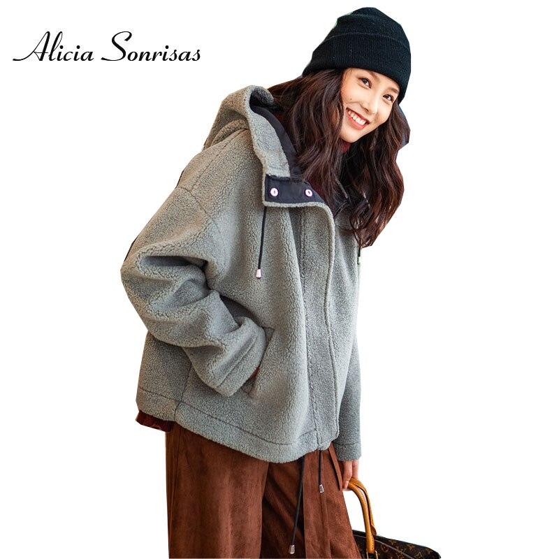 New 2018 Winter Faux Shearling Sheepskin Coat Lamb Casual Hooded Loose Short Suede Warm Motorcycle Jacket MF1851602