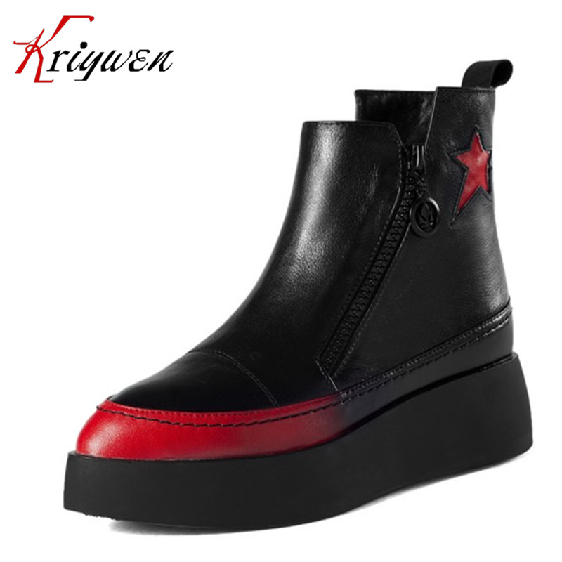 2015 New women martin Boots platfroms med heels genuine leather western boots rivets punk Solid Elegant Woman lady Ankle Boot vinlle women boot square low heel pu leather rivets zipper solid ankle boots western style round lady motorcycle boot size 34 43