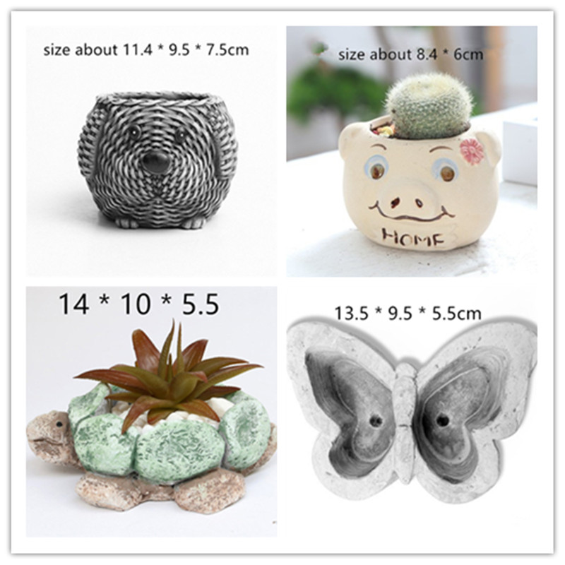 Animal Shape 3D Concrete Planter Pot Silicone Molds Garden Desktop Decorating Flowerpot Vase Mold DIY Cement Mould