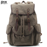 PONGWEE 2016 Vintage Casual Women Daily Backpack Canvas Bag School Bag Retro Shoulder Bag Casual Backpack