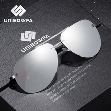UNIEOWFA, мужские авиационные солнцезащитные очки без оправы, мужские HD поляризованные Серебристые зеркальные Спортивные очки, UV400, Полароид, солнцезащитные очки для мужчин, пилот