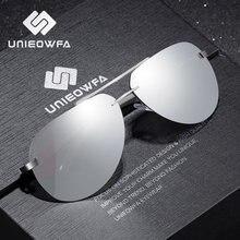Unieowfa masculino sem aro aviação óculos de sol homem polarizado prata espelho esportes óculos uv400 polaroid para homem piloto