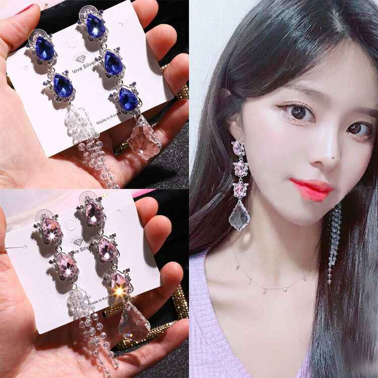 MENGJIQIAO 2018 Korean New Luxury Big Water Drop Crystal Tassel Asymmetry Earrings For Women Fashion Party Temperament Pendiente