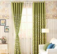 European Style Green Leaves Blackout Curtains For Bedroom Tulle Curtains Sets In The Nursery Drapery Window