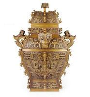 Antique bronze utensils square ornaments, fine copper square ornaments, home decoration ornaments