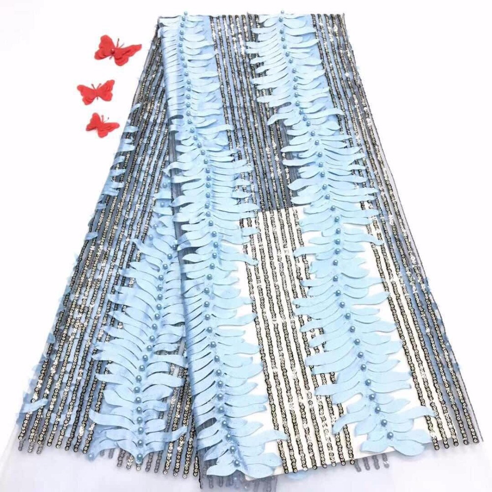 Nigerian Lace Fabrics For Wedding 2017, African French Lace Fabric High Quality 3D Lace, Blue Lace Applique(FJ-11-18Nigerian Lace Fabrics For Wedding 2017, African French Lace Fabric High Quality 3D Lace, Blue Lace Applique(FJ-11-18