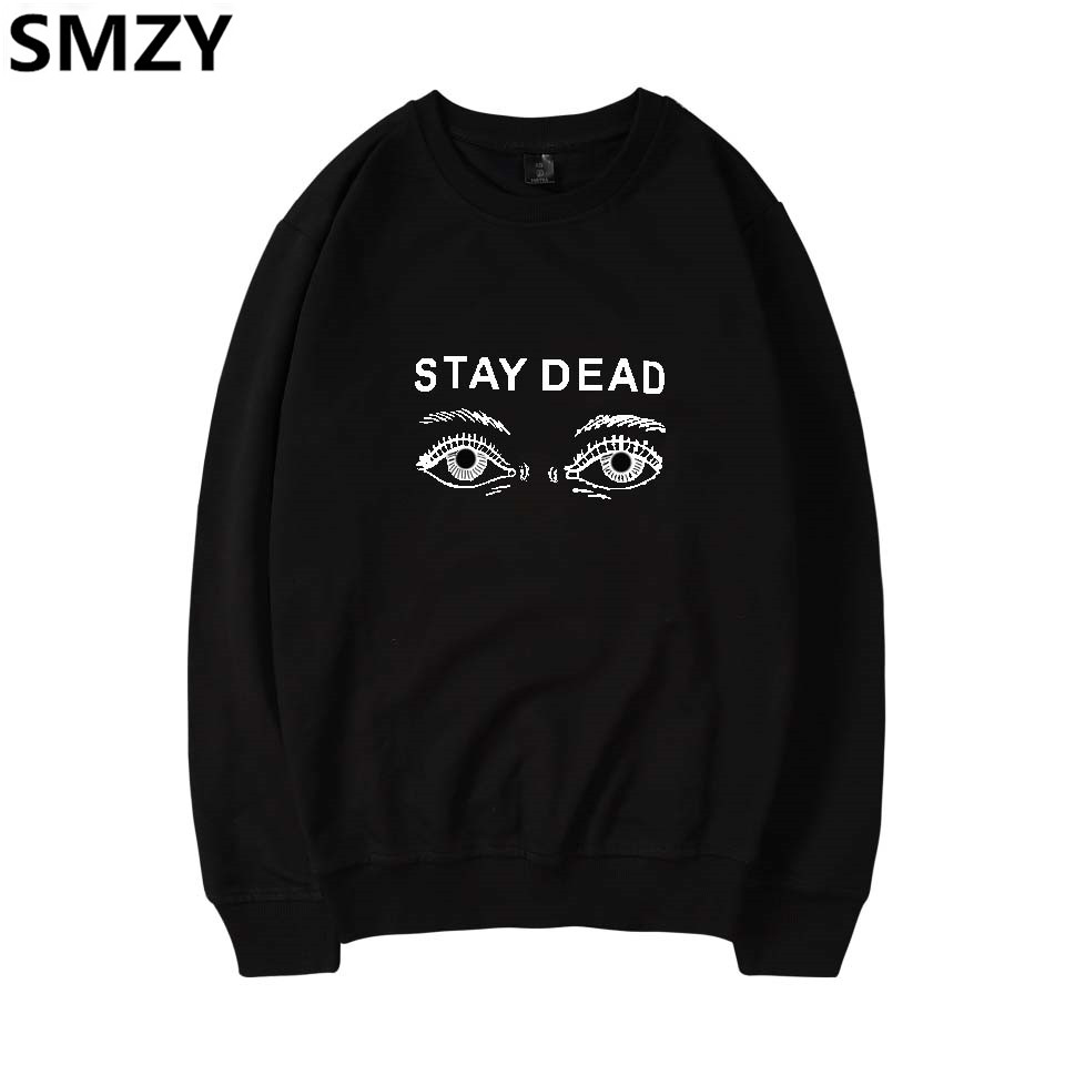 SMZY Eye Capless Pullover Hoodies Womens Fashion Stay Deda Sweatshirt Women Long Sleeve Casual Printing Funny Streetwear Clother