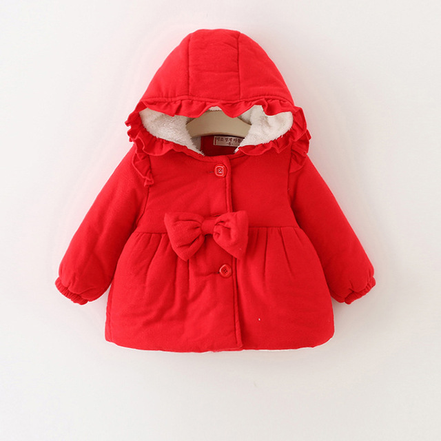2016new spring autumn girl jacket Korean version of the winter bowling thick cotton velvet children with a cap 1-3 free shipping