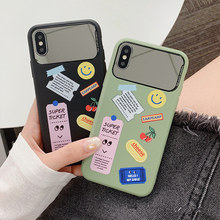 Women cosmetic mirror case for iphone7 8plus xsmax matte litchi veins makeup mirror shell for iphone 7 6 6s 8 plus x xr xsmax xs цена и фото