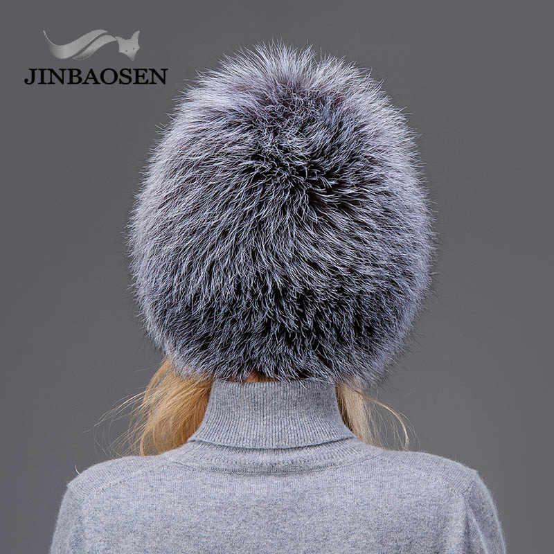 f7a852236 JINBAOSEN Female winter fur hat real fox fur hat knitted silver fox fur hat  female russian bomer cap