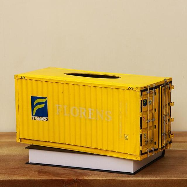 Metal Cargo Container Shaped Tissue Box
