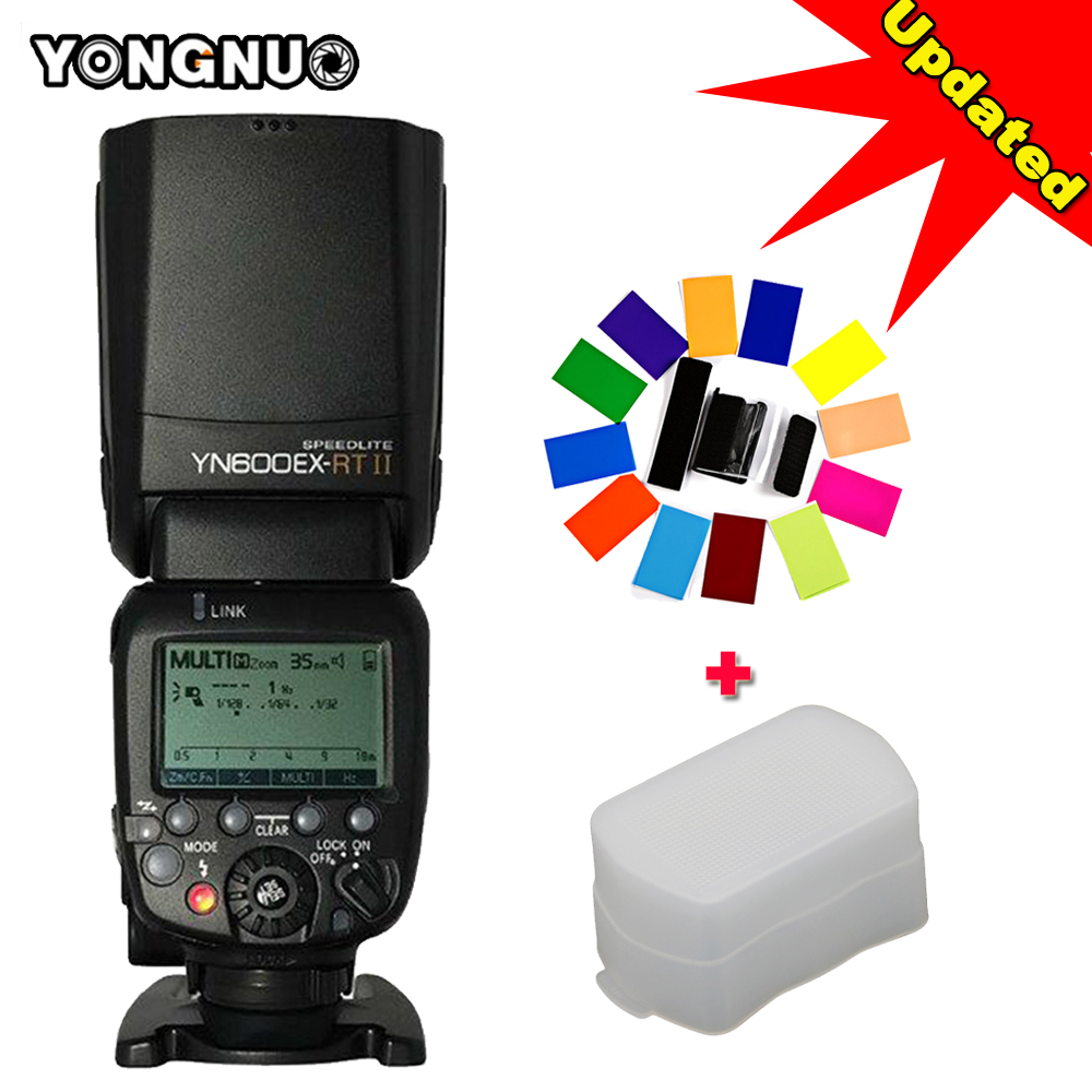 Updated Wireless Auto TTL HSS Light YONGNUO YN600EX-RT II Flash Speedlite+YN-E3-RT Controller for Canon 5D3 5D2 7D Mark II 6D yongnuo yn968ex rt ttl wireless flash speedlite with led light compatible with yn e3 rt yn600ex rt for canon 600ex rt st e3 rt