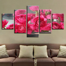 Wall Artwork Picture HD Printed Art Modern 5 Pieces Red Flowers Modular Canvas Paintings Poster Decor For Living Room Framework