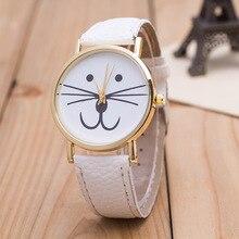 Senhoras Moda Casual Relógio De Pulso de Ouro Watchcase Com O Gato Bonito Rosto dial Generve Relógio Das Mulheres Relógio de Quartzo reloj mujer
