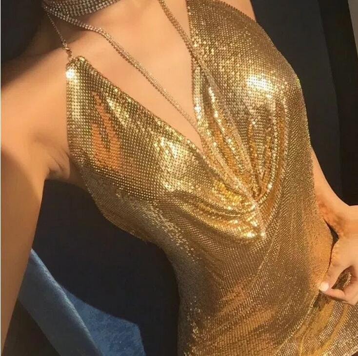 2017 Sexy Diamond Halter Metal Party Dresses Gold Silver -1093