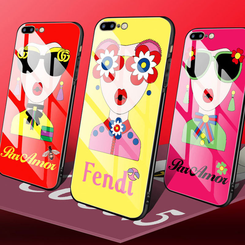 Interesting cute girl cell phone case for the iPhone 78 and toughened glass cell phone case for the back cover of the 6S Plus x in Half wrapped Cases from Cellphones Telecommunications