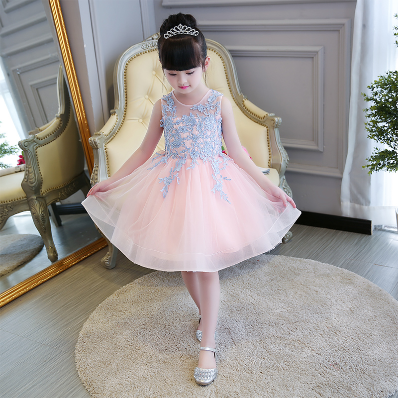 New Hot-sales Babies Kids Embroidery Lace Pink Princess Ball Gown Dancing Dress Girls Children Birthday Formal Party Tutu Dress baby girls dress 2016 brand new girls princess dress children s birthday party sequined dress pink tutu kids free shipping