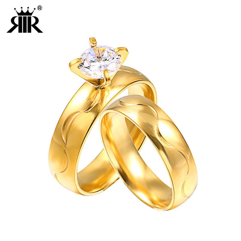 RIR 1 шт. обручальное Обручение Для мужчин Для женщин цвета: золотистый, серебристый Цве ...