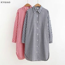4e498ca2655 KYQIAO Plaid shirt 2018 Plus size women clothing female spring autumn Japanese  style casual red blue plaid patchwork blouse