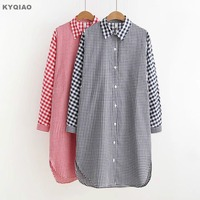 KYQIAO Plaid Shirt 2018 Plus Size Women Clothing Female Spring Autumn Japanese Style Casual Red Blue