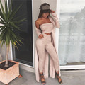 2016 Suede Mulheres Jumpsuits Rompers outono inverno sólida parte superior do tubo fino sexy macacões roupas drop shipping
