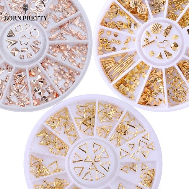 עלה זהב מסמר 3D הרבעה נייל אמנות קישוט גריי זהב מעגל כיכר עגולה כוכבים אביזרי גלגל משולש מעורבים עבור DIY