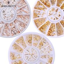 Розовое золото заклепки ногтей шпильки 3d Дизайн ногтей украшения серый золотой круг звезда круглый квадратный Треугольники смешанные Интимные аксессуары в колеса для DIY