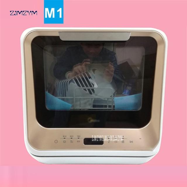 M1 free installation dishwasher home full automatic desktop mini smart embedded Dish bowl wash machine UV, tempered glass Shell 1